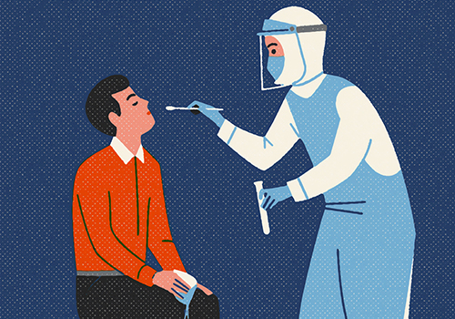 image of a person administering a covid-19 test to a man